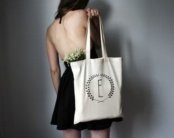hand screen printed cotton shopping bag, personalized letter tote bag monogram, bridesmaids gift, mother day gift floral print