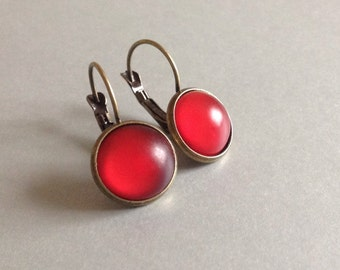 Deep Red Frosted Glass Dangle Earrings Domed Lever Back Antique Bronze Valentine Romantic Minimalist Jewelry