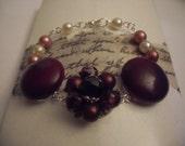Vintage Recrafted Earring Bracelet, Burgandy,Silver Tone