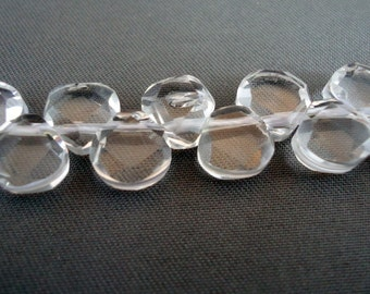 Natural Clear Quartz Beads, Teardrop, handmade faceted, 7x8x4mm