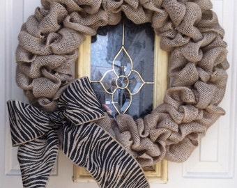 Burlap Bubble Wreath with Zebra bow