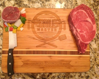 Grill Master, Bamboo personalized engraved cutting boards for dad with name Engraved. Please visit our shop to see many more!