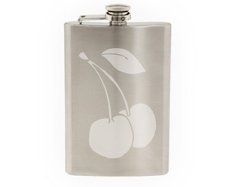 Fruit Doodle #2 - Cherry Drawing Art Cooking Restaurant- Etched 8 Oz Stainless Steel Flask