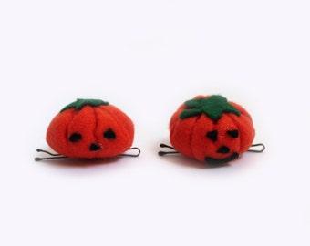Hairpins with felt pumpkin for Halloween, Set of 2 hair accessories