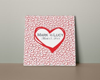 Wedding Guest book Heart on Heart red. Print on canvas 300 signatures. Choose the number of hearts