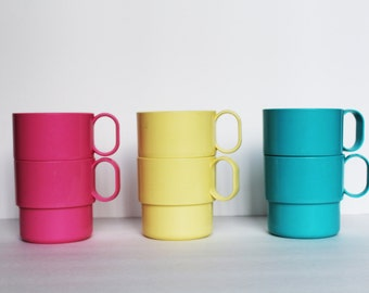 6 Vintage Decor Colorful Stacking Cups