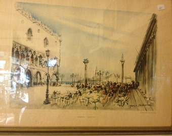 Antique framed Venezia Piazzetta 18 1/2 x 14 1/2