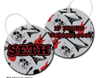 CUSTOM Personalized Boys Rock Band Bag tag for backpack Luggage ID Fiberglass not laminated diaper camera tote