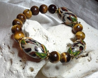 Natural Tiger Eye and Animal Print Beads with Twisted 14K Gold Filled Accents Custom Stretch Bracelet