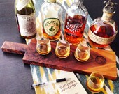 Whiskey Flight Tasting Board with 4 Glasses