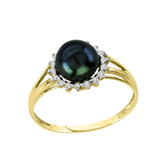 Cultured Black Pearl Halo Diamond Engagement by AmericanDiamonds