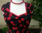 """Cherry print Rockabilly 50""""s swing style dress"""