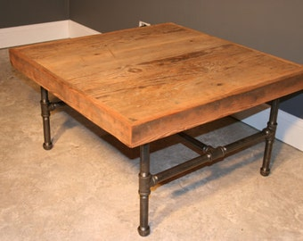Reclaimed Urban Wooden Coffee Table - Made From Salvaged Barn Wood - Fast shipping