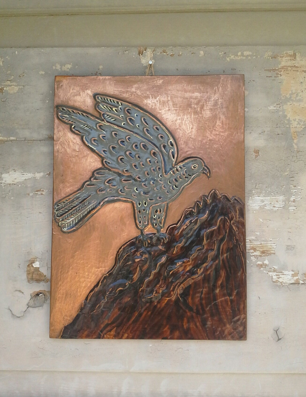 Bird copper wall art copper wall decor copper repoussed for Copper wall art
