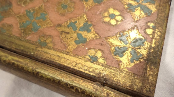 Italian Gilded Book Box, Fancy Trinket Box, Circa 1930s European Salvage