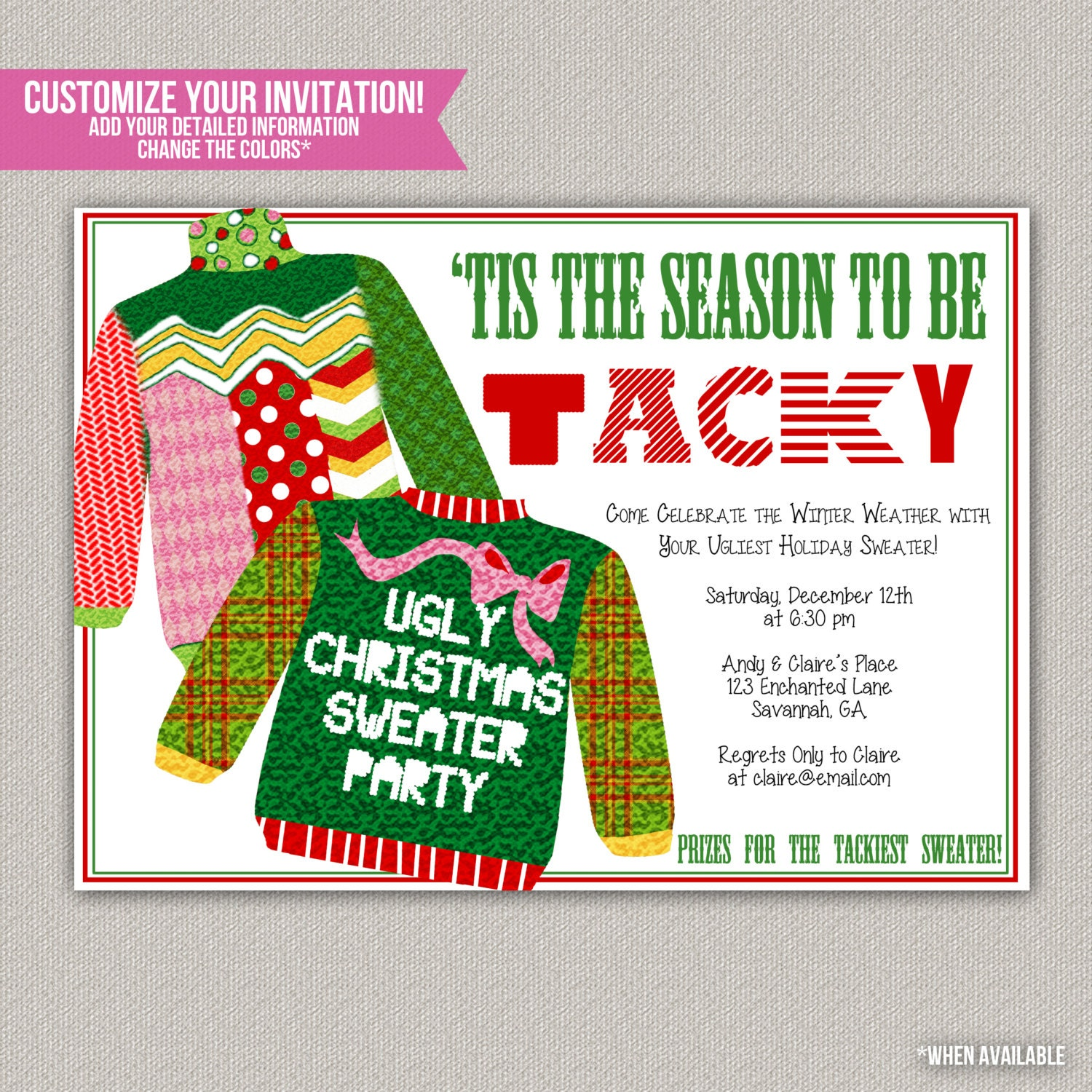 Ugly Christmas Party Sweaters: Tis The Season To Be Tacky Tacky Sweater By EnchantedDesigns4U