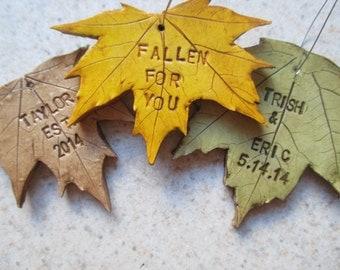 personalized fall leaf ornaments fall wedding favors teacher gift OOAK Christmas ornament custom favors fall wedding
