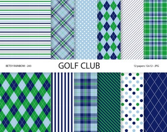Golf Paper pack in navy blue and green, golf scrapbook paper, golf digital paper - BR 243
