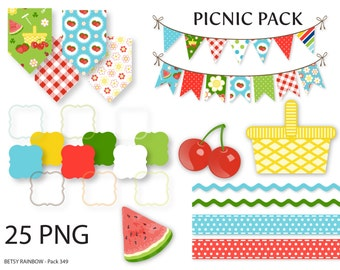 Picnic clipart Pack, clip art, digital borders, picnic, summer, cherries, watermelon, instant download - BR 349