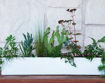 Modern Romantic Wedding Centerpiece, White Metal Trough Planter with a Glossy Powder Coated Finish. Free Shipping!