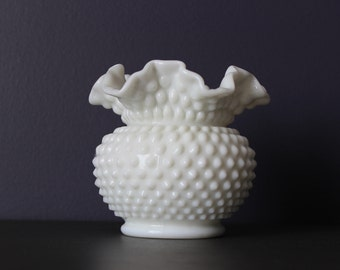 Vintage Fenton Hobnail Milk Glass Ruffled Vase