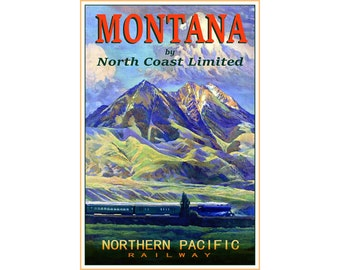 """NORTHERN PACIFIC North Coast Ltd -Montana Train Poster - New Retro Travel Advertising - available in 4 sizes up to 24""""x 36"""" - Art Print 109"""