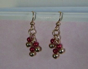 Dangle Earrings in 6 mm Gold Filled Beads and 6 mm Red Glass Pearl Beads