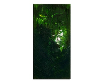 "Acrylic, abstract green painting, Original Art by AG: ""SCHUTZWALL"", Gallery of modern & contemporary  Art The Artmakers"