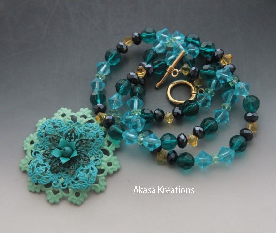 Astral - Handmade Filigree Mandala Beaded Necklace - 26.7 Inches - Throat Chakra Color Therapy - Meditation Expression Truth - Blue Yellow