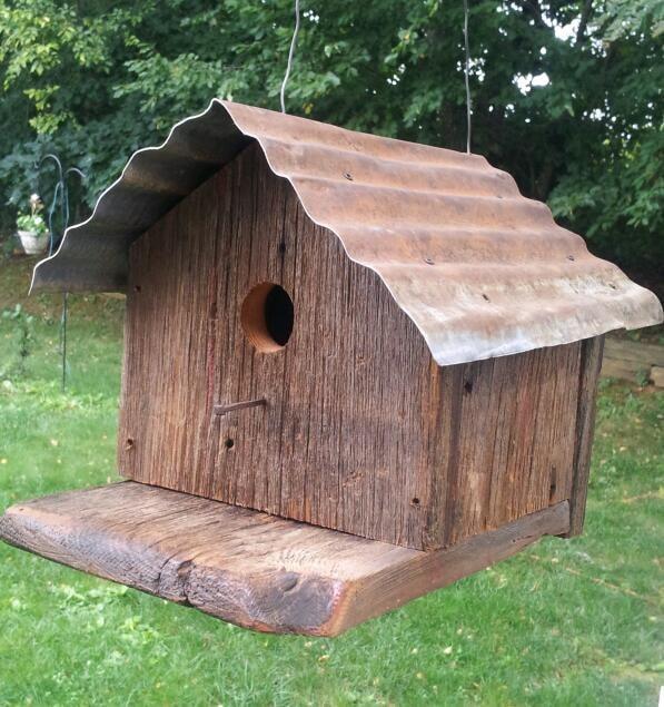 Hand made barn wood bird house weathered oak with tin roof - Old barn wood bird houses ...