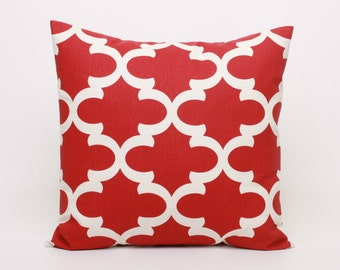 Red Pillow Cover, Morrocan Tile Red Cushion Cover, 16x16 inch Pillow Cover in Red, Red and Off White Pillow Cover