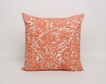 """Throw Pillow Cover Orange Cushion Cover 16"""" x 16"""" Throw Pillow Cover in Orange and Off White Orange Pillow Sham"""