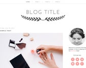 Premade Blogger Template (Instant Download) - Blog design - Simple, minimalist, feminine, clean - Pink, White, Gray, Laurel Wreath