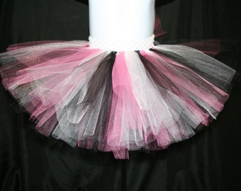 Valentine's Day Tutu Skirt, Pink, White and Black Tutu Skirts, Children's Tutu Skirts, Pink Newborn to 6T Tutus, Pink, White and Black Tutu