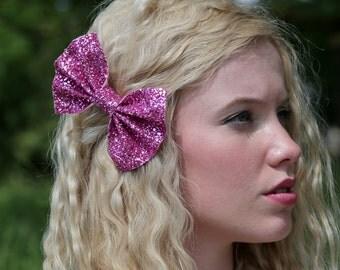 Glitter hair bows, glitter bow, glitter hair accessory, pink glitter bow, pink bow, glitter hair bow, party bow, sparkly bow,