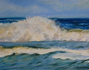 Seascape painting, PRINT Home Decor, Waves, Pastel Painting, Free Shipping