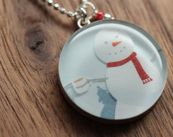 Starbucks Snowman necklace in sterling silver, resin and diamond cut sterling silver chain. Made from recycled, upcycled  gift cards.