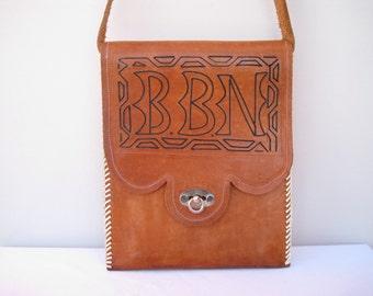 Vintage Leather  Hand-tooled Flat Messenger Bag Shoulder  Bag