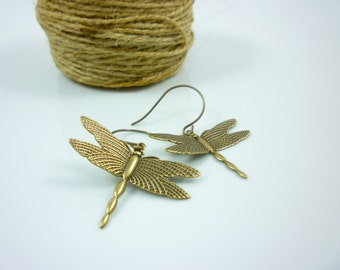 Simple Victorian Dragonfly  Earrings Antique Bronze Finish by Victorian Folly