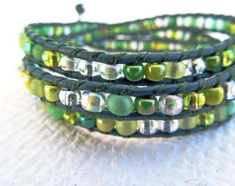 Leather  3 Wrap Bracelet,  Green Leather Seed Bead Bracelet, Green Wrap, Bead Bracelet, Leather Wrap Bracelet