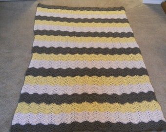 Chevron Zigzag Crocheted Afghan for Wedding/Housewarming/Retirement/Graduation/School/Etc. in Yellow/White/Gray, Brown/Ivory/Blue or Choice