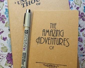 2 Pack| Travel Journal | Hand Stamped Typographic Moleskine Bundle