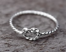 Rope Love Knot Ring, Nautical Knot Ring, Sterling Silver Bridesmaid jewelry, Tie the knot ring