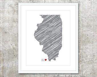 State of Illinois Art Print - Custom State Love Poster - Slate Grey Red Heart - Modern Wall Art