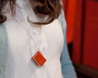 Miniature Book Necklace Handcrafted from Upcycled Books and Leather Bound in Bright Orange