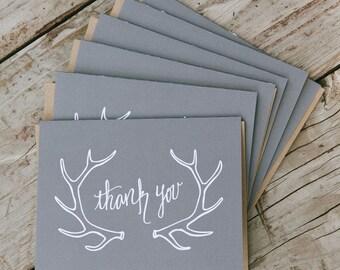 Set of 6 Grey Antler Thank You Card, 4.25x5.5, Handlettered, Kraft Paper Envelope, Blank Inside
