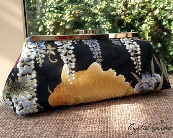 Clutch Bag Purse with Kisslock frame - Beautiful colourful Oriental Koi Carp & Wisteria design with Silk lining lining - Ready to ship!