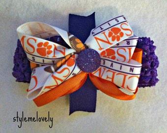 Clemson University Baby Girl Boutique Bow Crocheted Headband