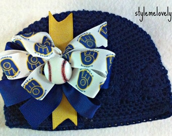 Milwaukee Brewers Baby Girl Boutique Bow Crocheted Hat