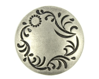 Metal Buttons - Carved Floret Solid Thin Domed Nickel Silver Metal Shank Buttons - 22mm - 7/8 inch - 6 pcs
